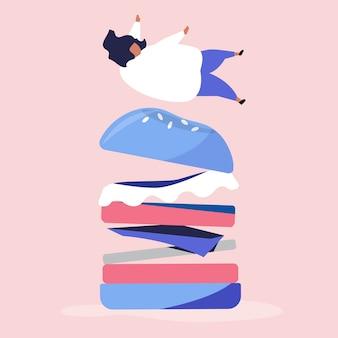 Personagem de uma pessoa caindo em um hambúrguer gigante