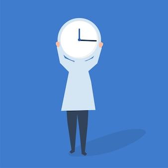 Personagem de uma pessoa com um relógio como uma ilustração de cabeça