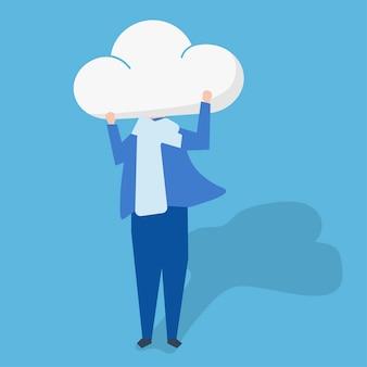 Personagem de uma pessoa com uma nuvem como uma ilustração de cabeça