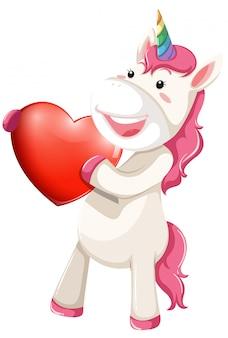 Personagem de unicórnio com coração