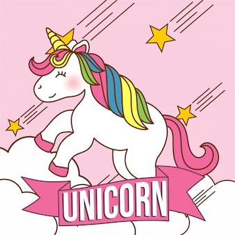 Personagem de unicórnio fofo kawaii com cores rosa e arco-íris