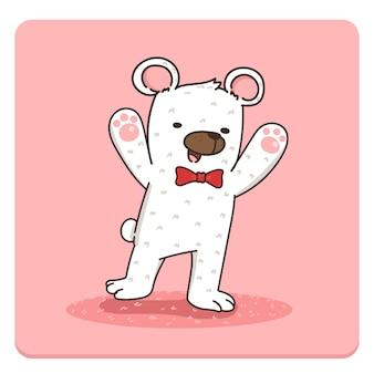 Personagem de urso branco feliz fofo com gravata vermelha.