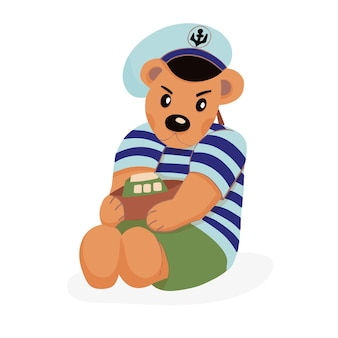 Personagem de urso de pelúcia com gola alta listrada e boné com âncora