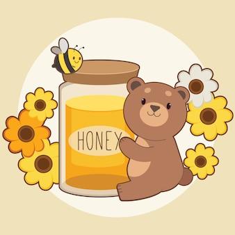 Personagem de urso fofo, abraçando um pote de mel grande com abelhas e flores sobre fundo amarelo