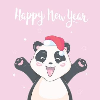 Personagem de urso panda bonito dos desenhos animados de natal no chapéu de papai noel com cartão isolado de imagem vetorial pompon