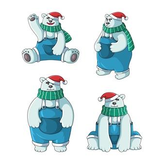 Personagem de urso polar fofo com chapéu de natal