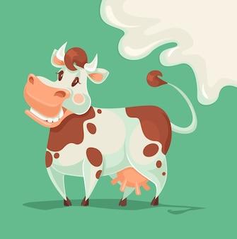 Personagem de vaca feliz.
