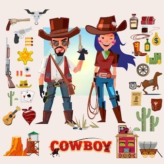 Personagem de vaqueiro e vaqueira com ilustração do conjunto de ícones de acessórios
