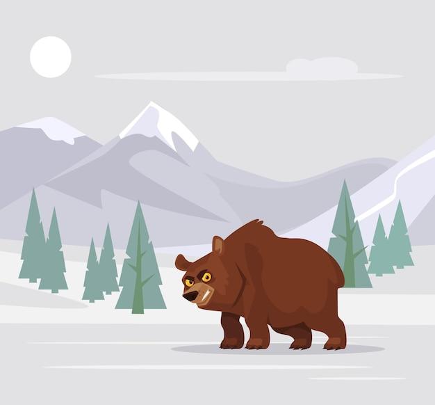 Personagem de vara de urso com fome com raiva não dormindo no inverno e andando. ilustração em vetor plana dos desenhos animados