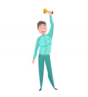 Personagem de vencedor de copa do esportista gold cup plana