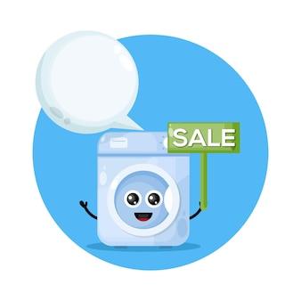 Personagem de venda de máquina de lavar fofo