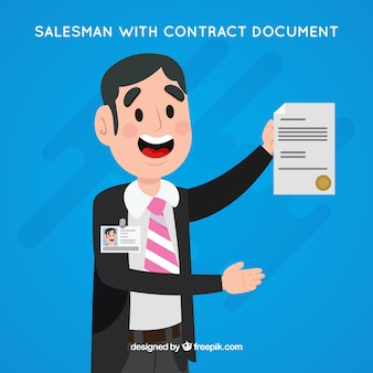 Personagem de vendedor plana segurando o documento do contrato