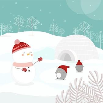 Personagem de vetor com boneco de neve e pinguins na neve