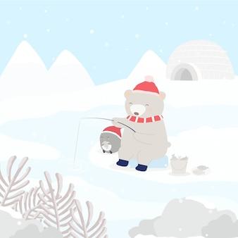 Personagem de vetor com pinguim e urso pescando na neve