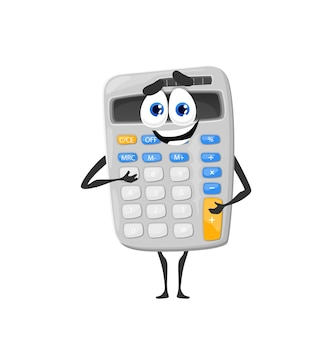 Personagem de vetor de calculadora escolar fofa de desenho animado