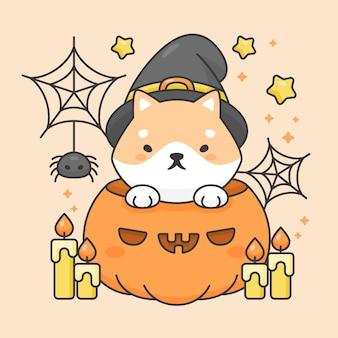 Personagem de vetor de cão shiba inu bonito em uma abóbora com vela e aranha traje de halloween