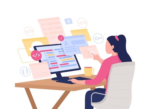 Personagem de vetor de cor semi-plana de desenvolvedor web. figura feminina do programador. pessoa em branco. freelancer autônomo isolado ilustração de estilo de desenho animado moderno para design gráfico e animação