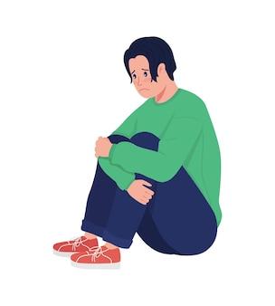 Personagem de vetor de cor semi plana de menino adolescente deprimido solitário. figura sentada. pessoa de corpo inteiro em branco. problemas adolescentes isolados ilustração de estilo de desenho animado moderno para design gráfico e animação