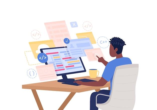 Personagem de vetor de cor semi plana de programador. figura do aluno. pessoa sentada em branco. homem na mesa do computador. codificando ilustração isolada do estilo de desenho animado moderno para design gráfico e animação