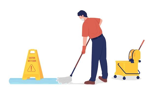 Personagem de vetor de cor semi-plana de zelador esfregando o chão
