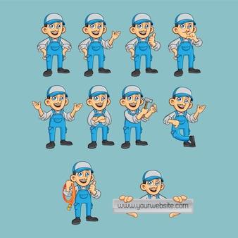 Personagem de vetor de encanador em poses diferentes