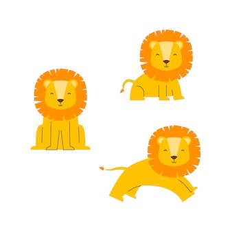 Personagem de vetor de leão bonito