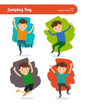 Personagem de vetor de menino pulando