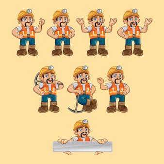 Personagem de vetor mineiro em poses diferentes
