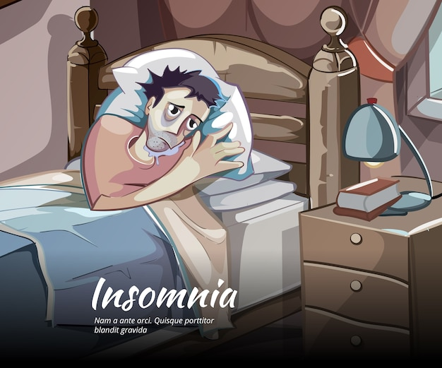 Personagem de vetor sem dormir. insônia e insônia, ilustração de pessoa no quarto