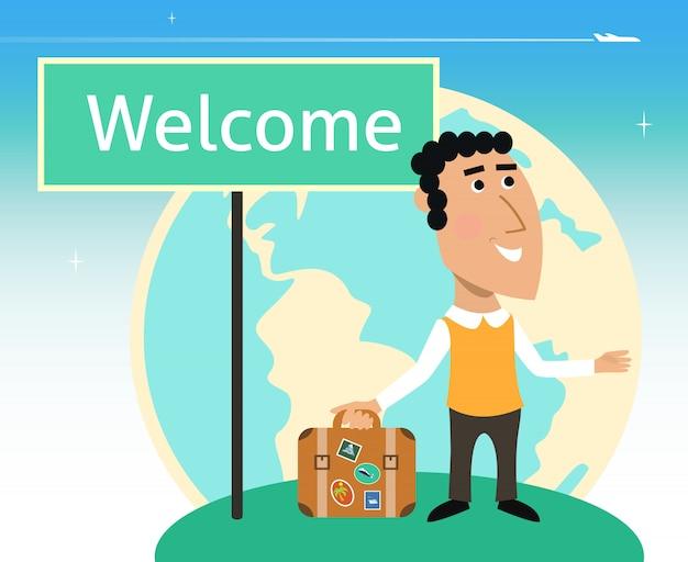 Personagem de viajante de férias ou negócios