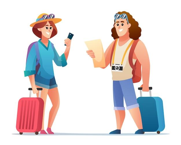 Personagem de viajante feliz casal