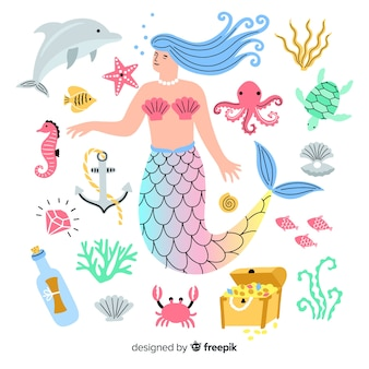 Personagem de vida marinha desenhada de mão