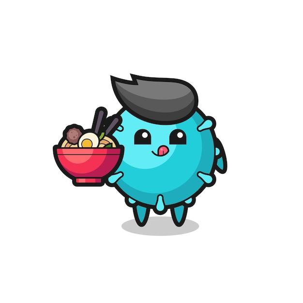 Personagem de vírus fofa comendo macarrão, design de estilo fofo para camiseta, adesivo, elemento de logotipo