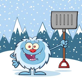 Personagem de yeti feliz segurando uma pá de inverno