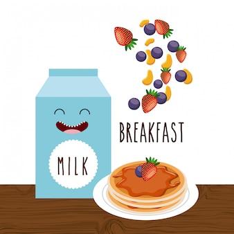 Personagem delicioso e nutritivo café da manhã
