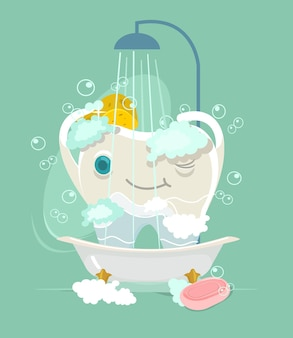 Personagem dente feliz tomando banho
