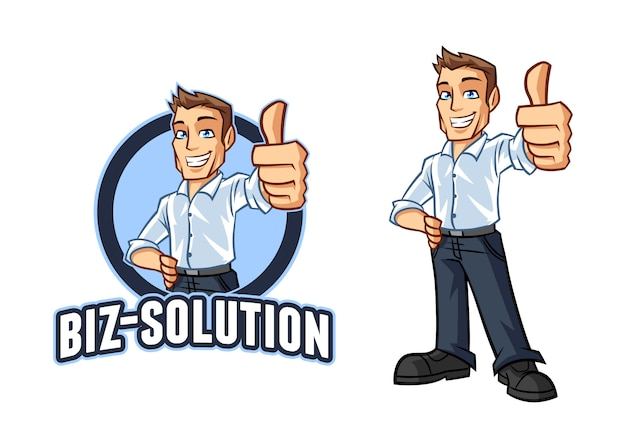 Personagem desenho animado empresário amigável sorrindo confiantemente logotipo mascote