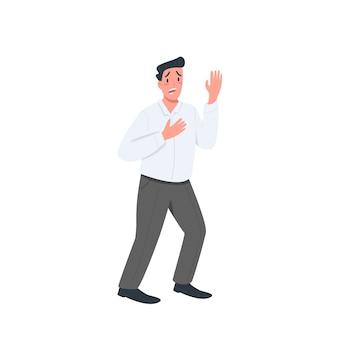 Personagem detalhada de cor lisa de homem estressado