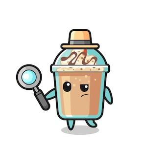 Personagem detetive de milkshake está analisando uma caixa, design de estilo fofo para camiseta, adesivo, elemento de logotipo