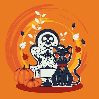 Personagem disfarçado de gato de halloween no cemitério