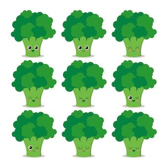 Personagem divertido e feliz de brócolis