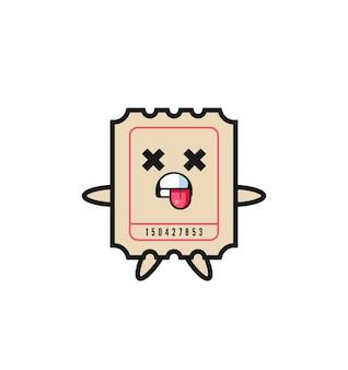 Personagem do bilhete fofo com pose de morto, design de estilo fofo para camiseta, adesivo, elemento de logotipo