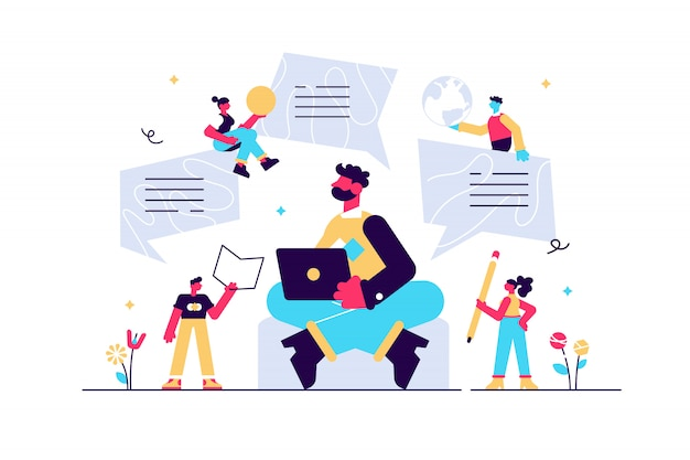 Personagem do blogger, blog criativo, postagem em blog comercial, direitos autorais, ilustração, estratégia de marketing de conteúdo. marketing de conteúdo, smm.