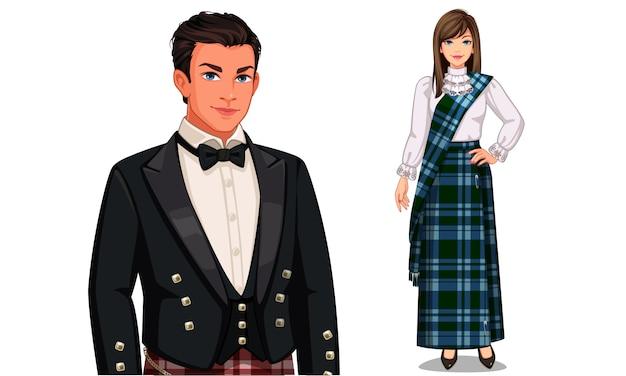 Personagem do casal escocês no vestido tradicional
