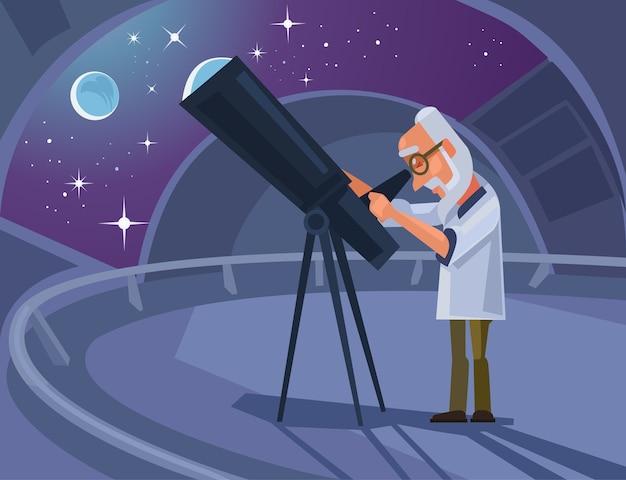 Personagem do cientista astrônomo olhando pelo telescópio. ilustração plana dos desenhos animados