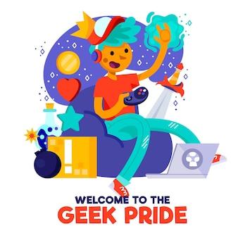 Personagem do dia do orgulho grego jogando videogame