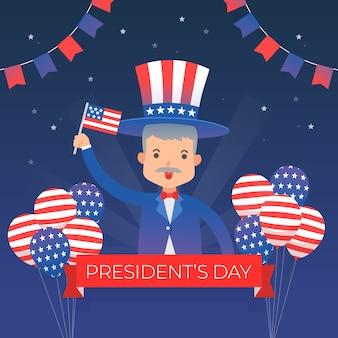 Personagem do dia do presidente com saudação