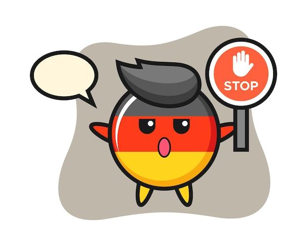 Personagem do distintivo da bandeira da alemanha segurando uma placa de pare