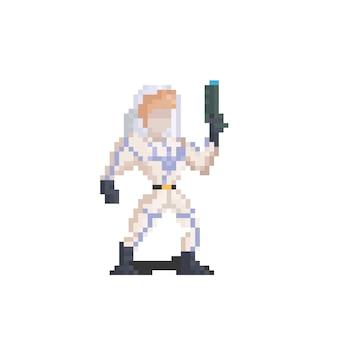 Personagem do homem do espaço da caixa de pixel art segurando uma arma
