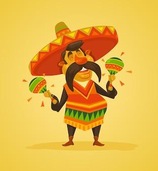 Personagem do homem mexicano com maracas. ilustração plana dos desenhos animados